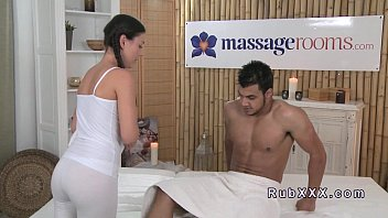10 min Beautiful masseuse giving a good handjob and sitting on her customer's cock